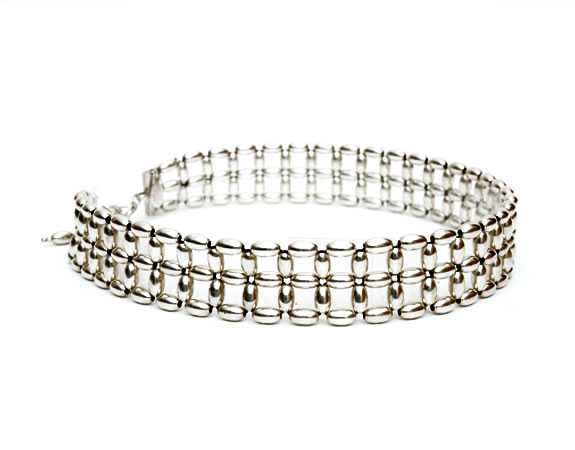 Silver Rice beads Choker, 2 row