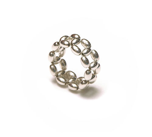 Silver Rice beads Ring, 1 row
