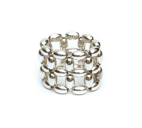Silver Rice beads Ring, 2 row