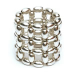 Silver Rice beads Ring, 3 row [RNG-SLV3]