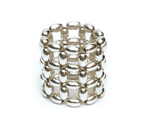 Silver Rice beads Ring, 3 row