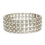 Silver Rice beads Bracelet, 3 row [BR-EL-232-E]