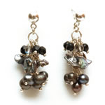 Black pearls with black diamond crystals and obsidian chips[605]