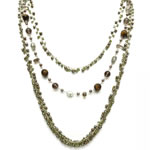 Long Necklace & Earrings, 3 strand [NK-6004]