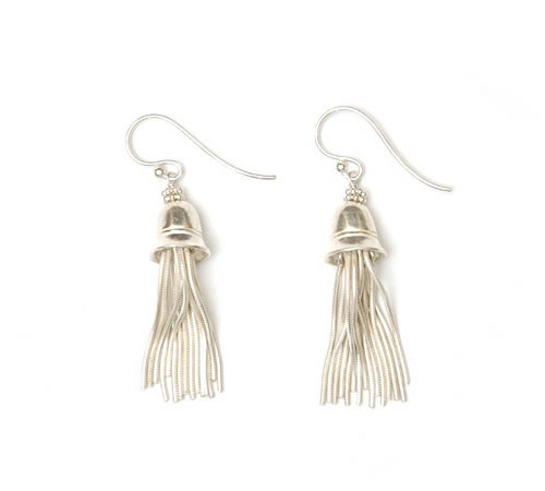 Silver Tassel Bell Earrings