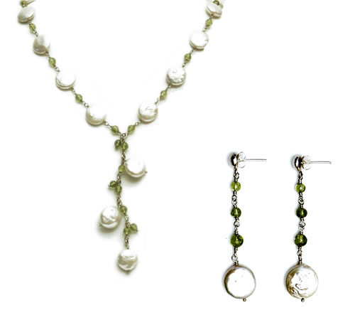 Teardrop Necklace & Earrings (coin pearls)