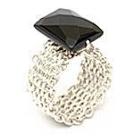 Mesh Design Ring with stone [RNG-8030-6]