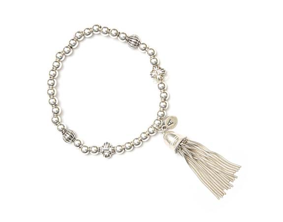 Single Strand Elastic Bracelet with sterling silver tassel