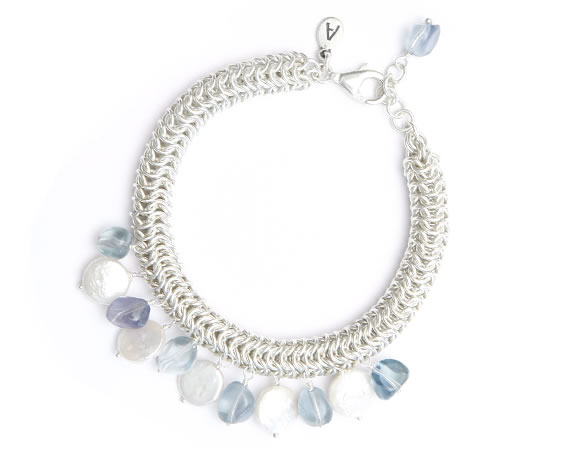 Silver Rolled Mesh Bracelet with Pearls and Stones