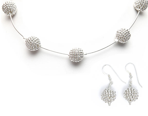 Pom Pom Necklace (silver) & Earrings [NKPM-5025-S]